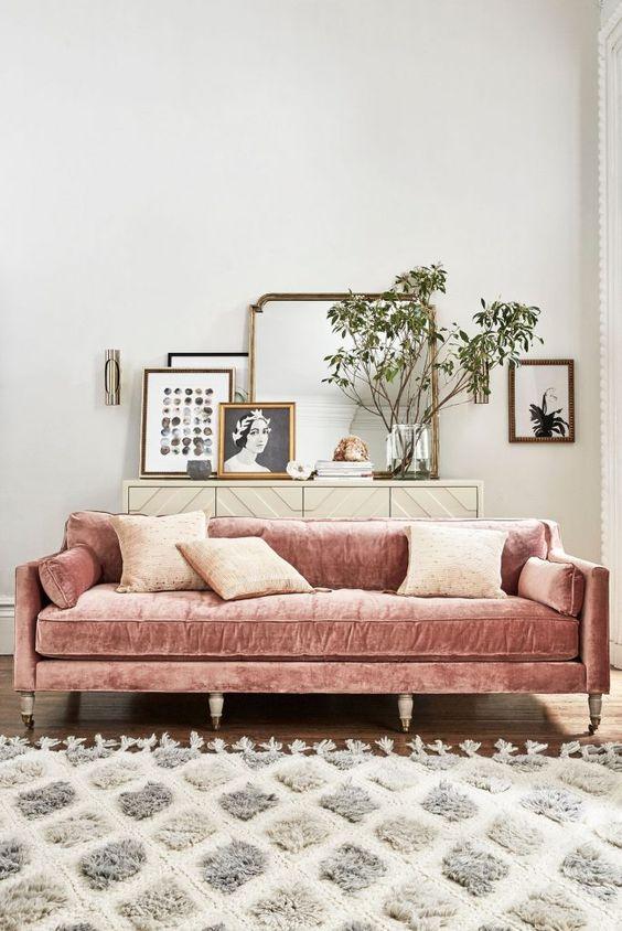 fluwelen roze bank