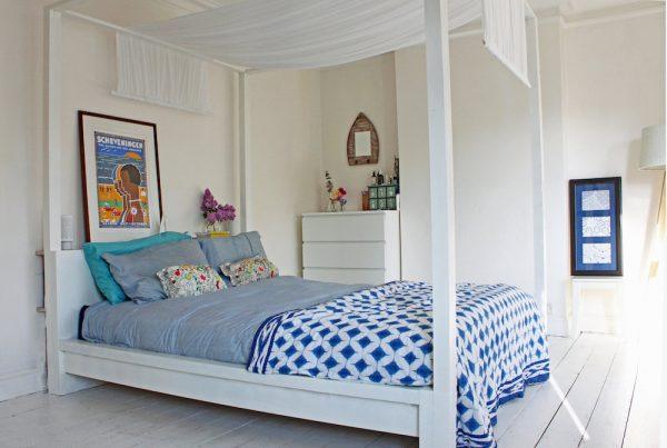 IKEA hacks Malm bed met baldakijn