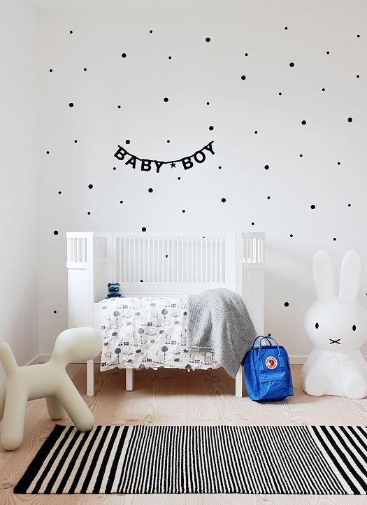 babykamer jongen zwart-wit