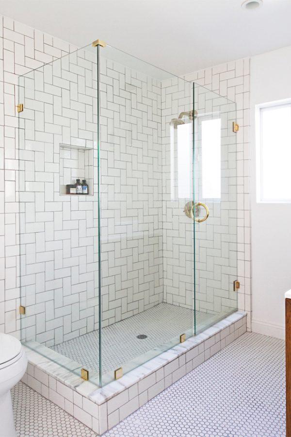 badkamer gouden details douche