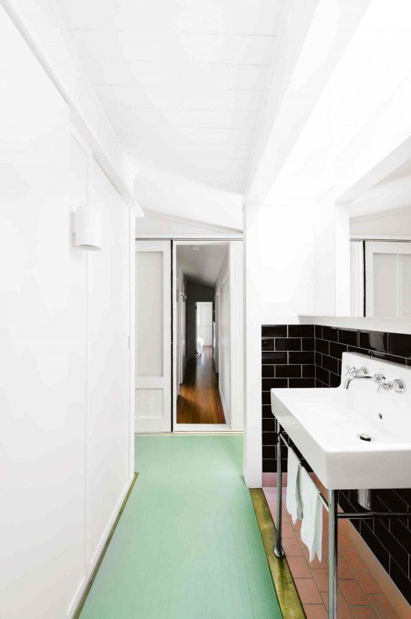 badkamer groene vloer