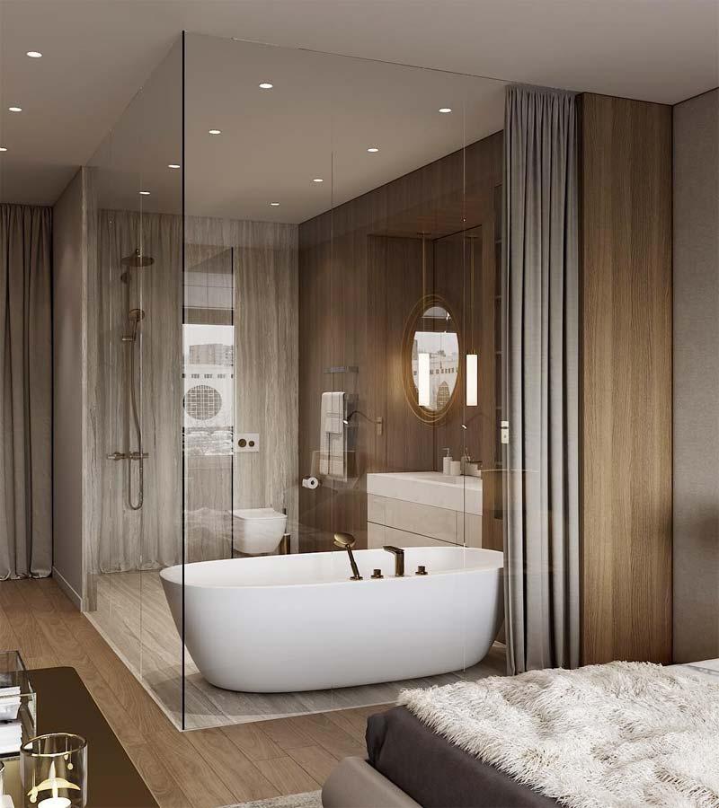 badkamer op zolder glazen wand