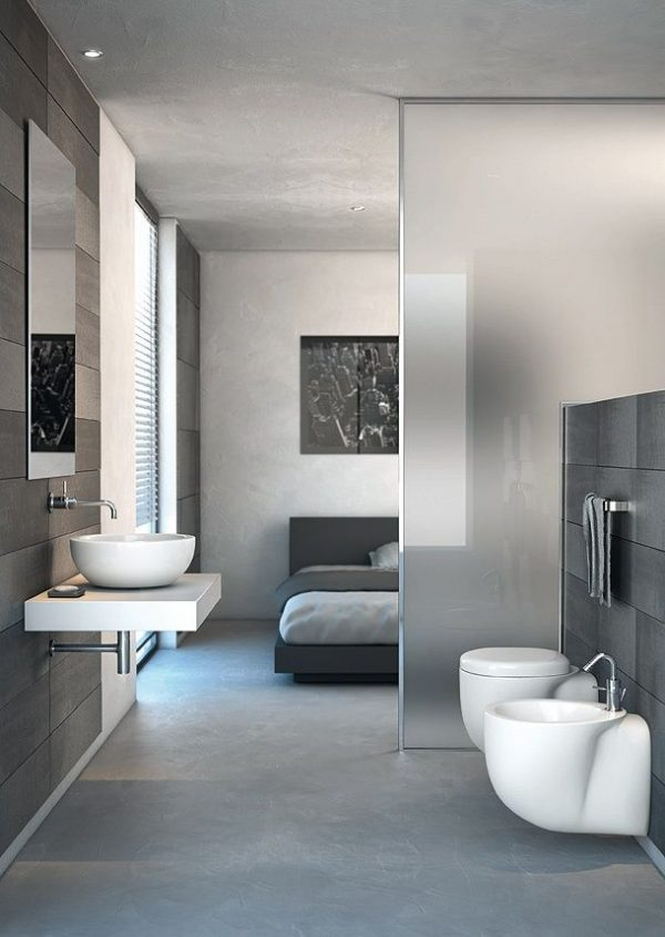 Badkamer en slaapkamer in n ruimte thestylebox - Mooie moderne badkamer ...