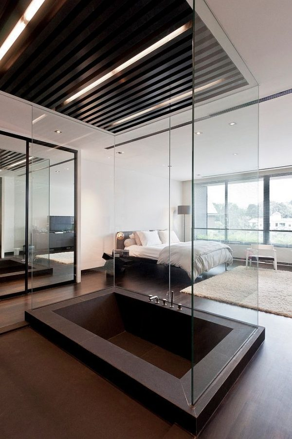 Badkamer en slaapkamer in n ruimte thestylebox - Slaapkamer met open badkamer ...