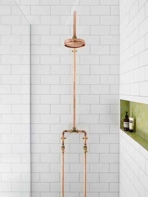 badkamers voorbeelden koperen leidingen