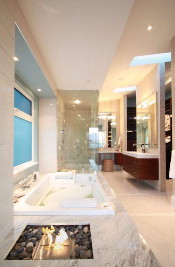 badkamers voorbeelden openhaard