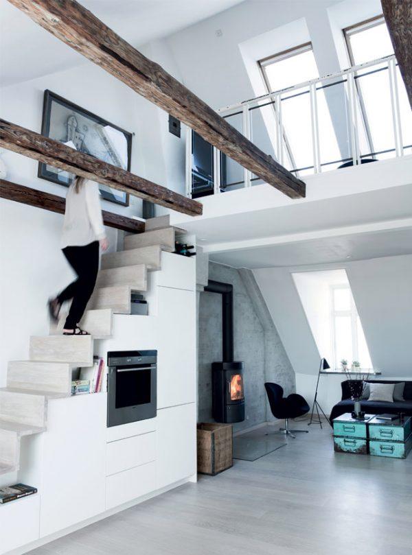 beton hout woonkamer