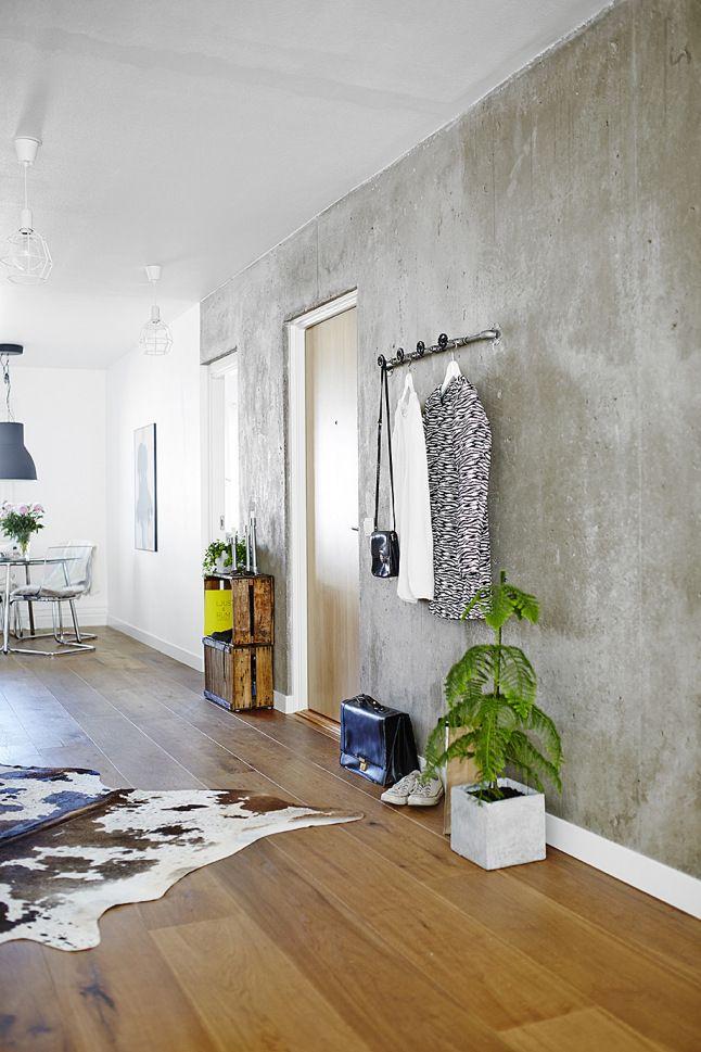 betonlook behang hal