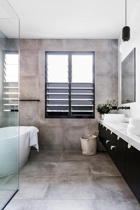 Betonnen vloer in de badkamer