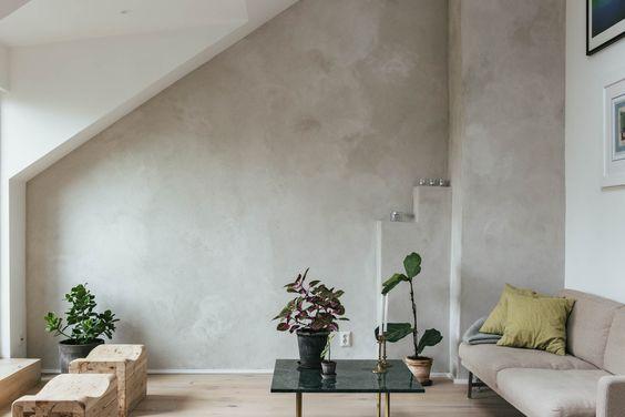 Betonlook verf over behang