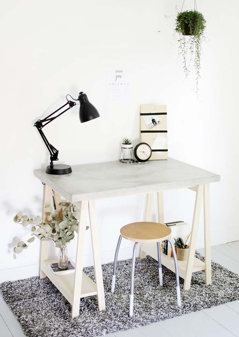 betonnen bureau houten schragen zelf maken
