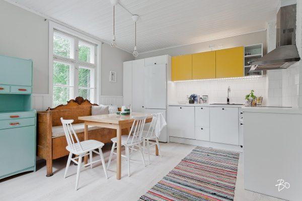 blauwe keuken kast