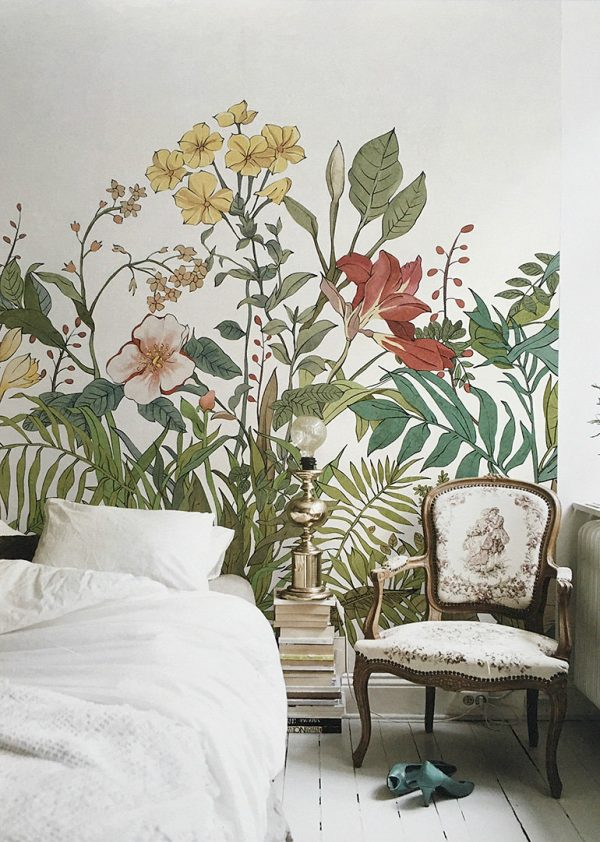 bloemen behang slaapkamer