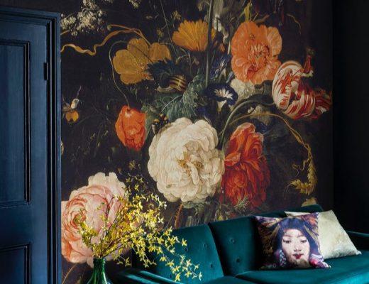 bloemen behang woonkamer