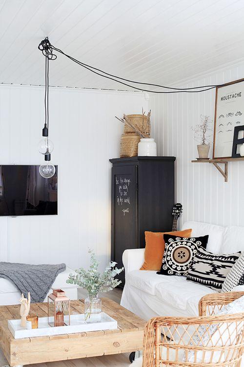 bohémien woonkamer zwart-wit