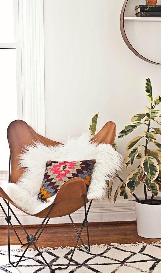 Cognac leren lounge chair