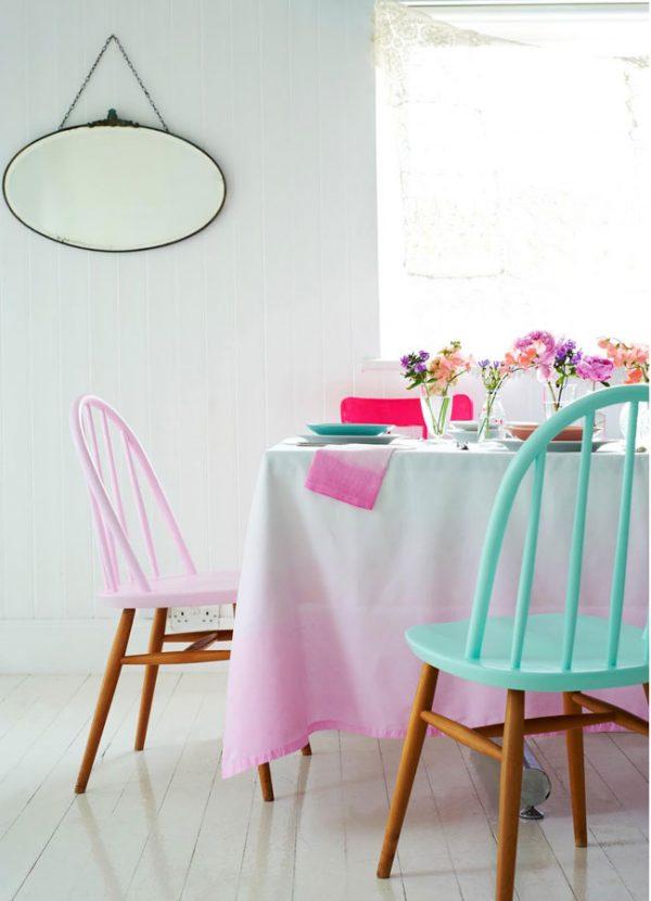 dip-dye ombre stoelen tafelkleed textiel