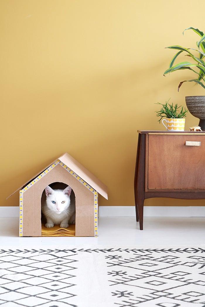 DIY kattenhuis van karton