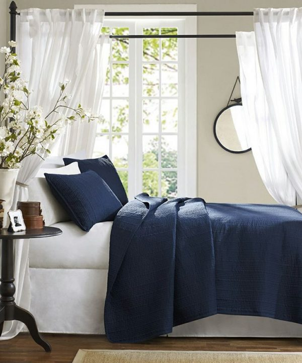 Donkerblauwe slaapkamer thestylebox for Bed in muur