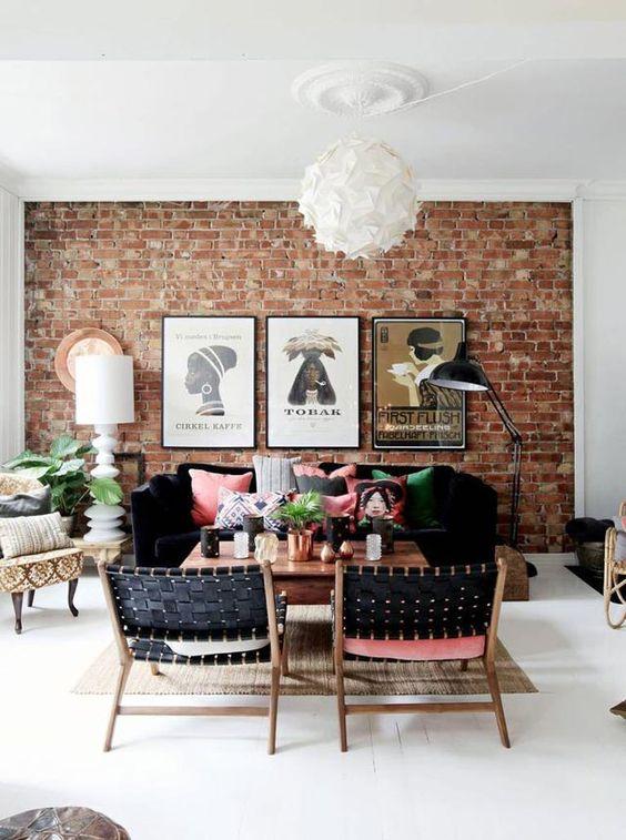 eclectisch interieur bakstenen muur