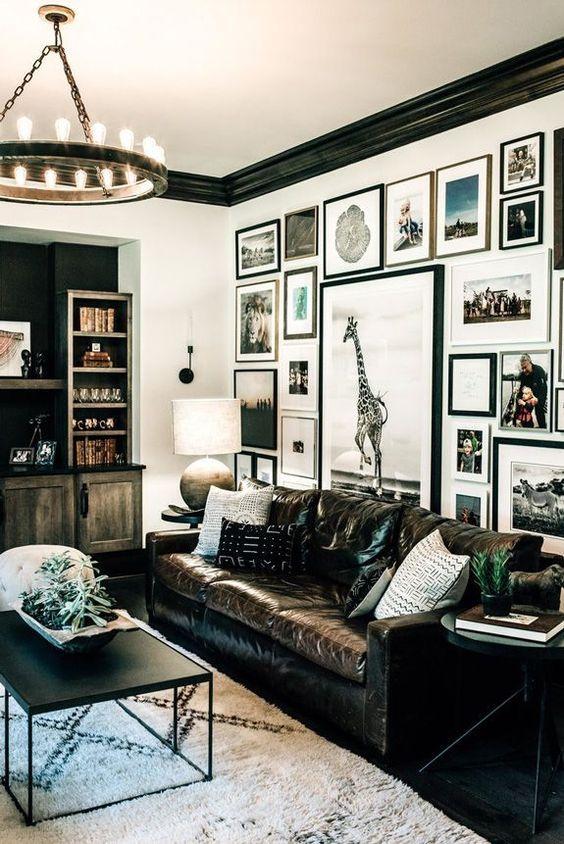 eclectisch interieur vintage leer