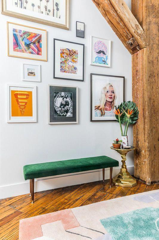 eclectisch interieur wandcollage-lijsten