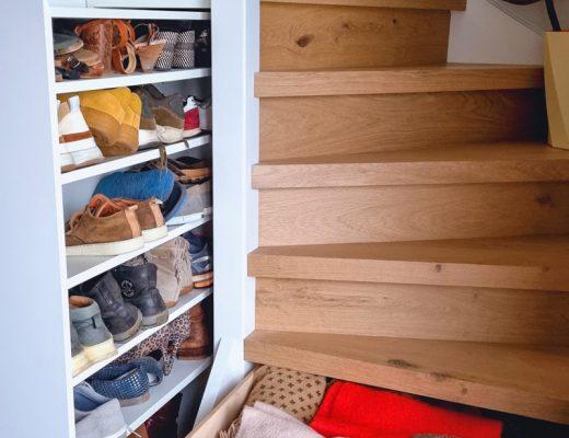 eikenhouten trap uitschuifbare trapkast lades in treden