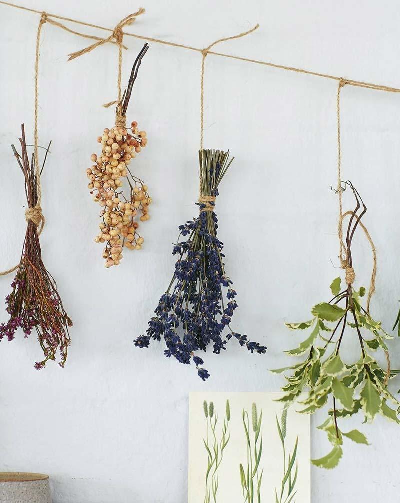 gedroogde bloemen aan muur