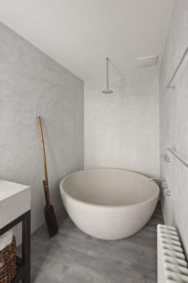 gestuukte muren badkamer