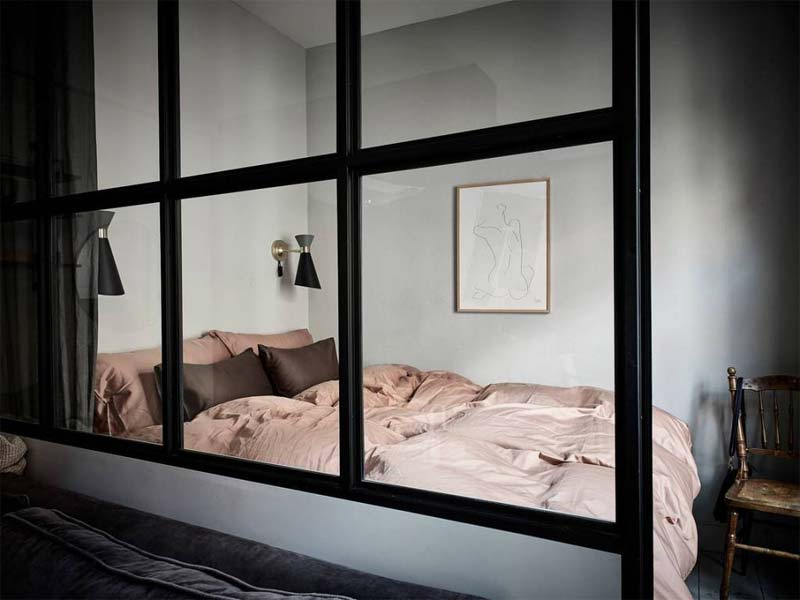 glazen wand kleine slaapkamer inrichten