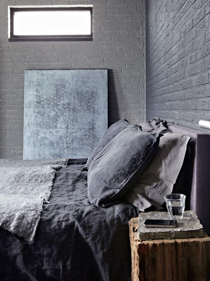 Stenen muur slaapkamer thestylebox for Grijze muur