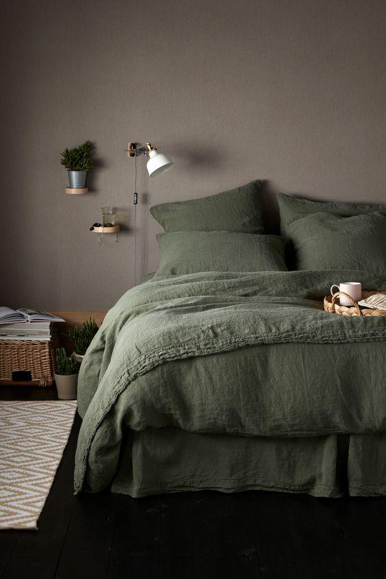 Groen bedlinnen slaapkamer