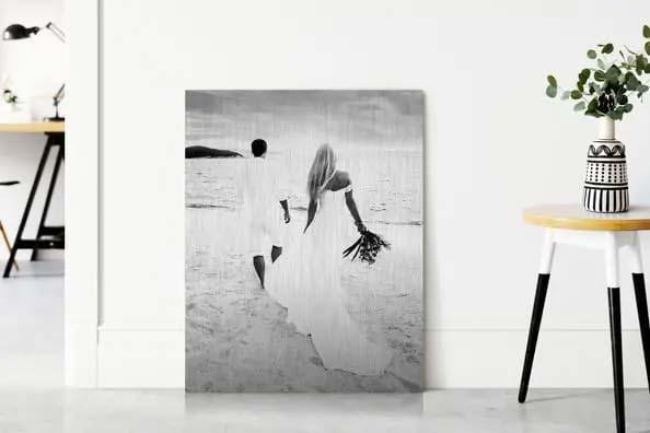 herinnering op linnen zwart wit