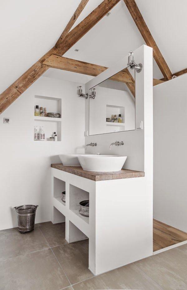 houten balken badkamer