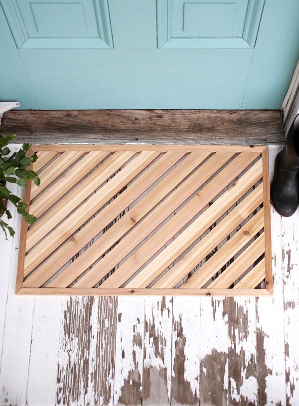 houten deurmat