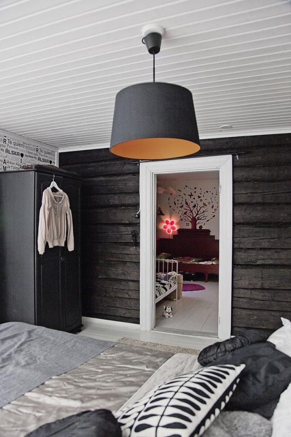houten planken muur slaapkamer