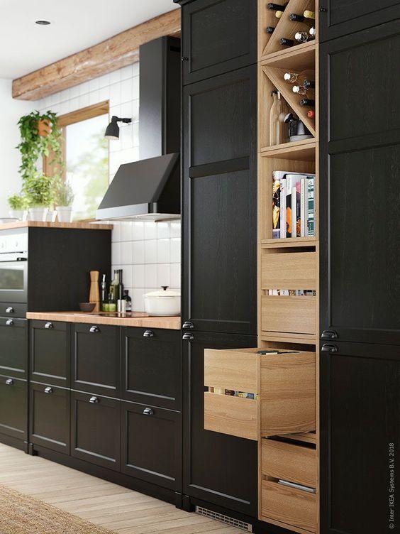 IKEA keuken lerhyttan deur zwart