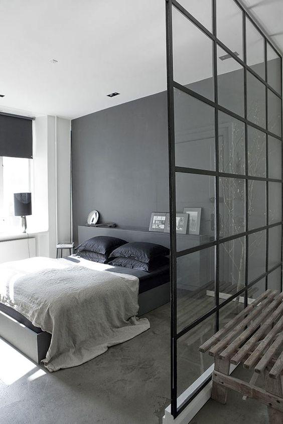 glazen wand slaapkamer