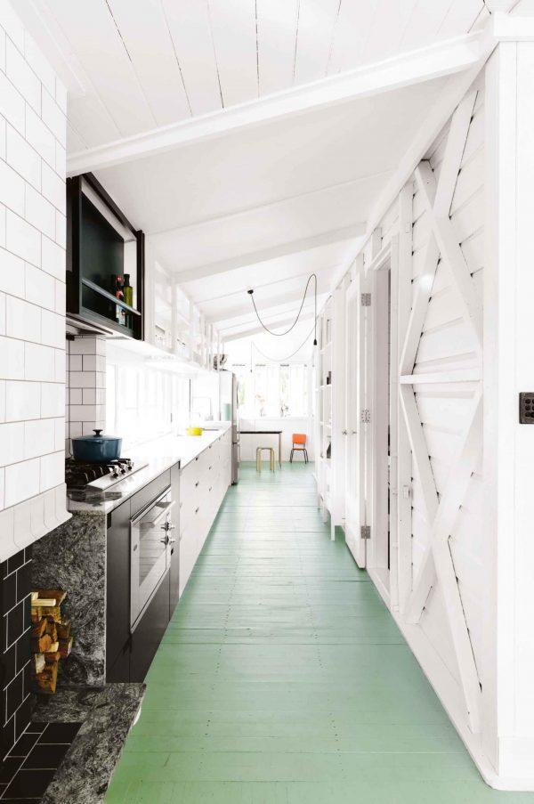 keuken groene vloer