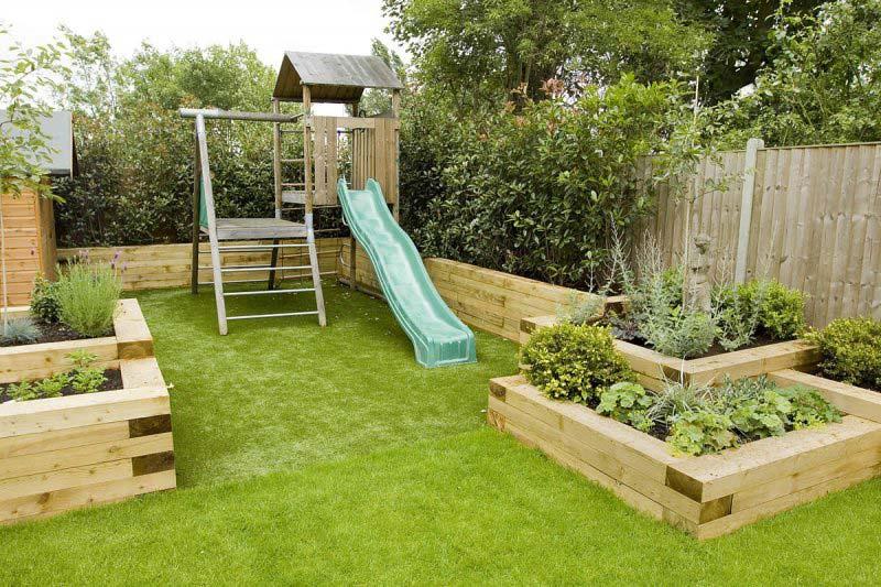 kindvriendelijke tuin glijbaan