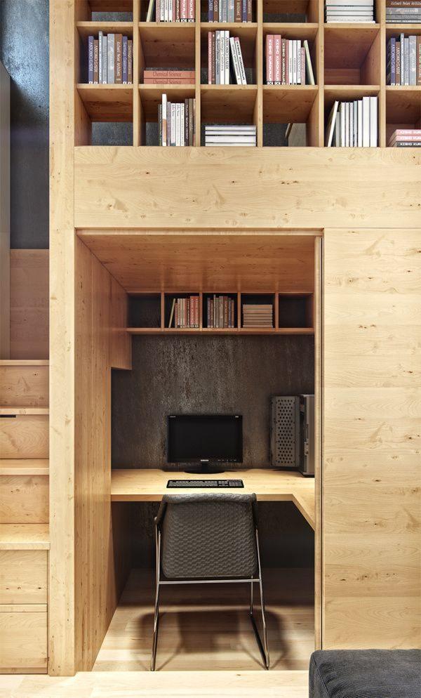 klein wonen kantoor hout