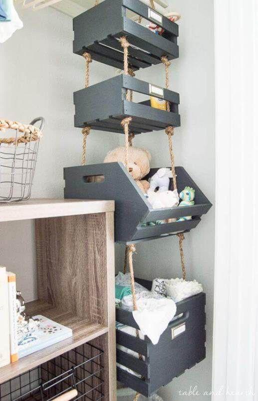 Kleine babykamer opbergboxen