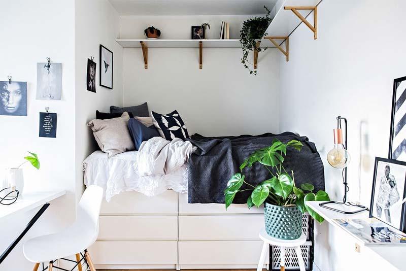 kleine slaapkamer bed op ikea malm ladekasten