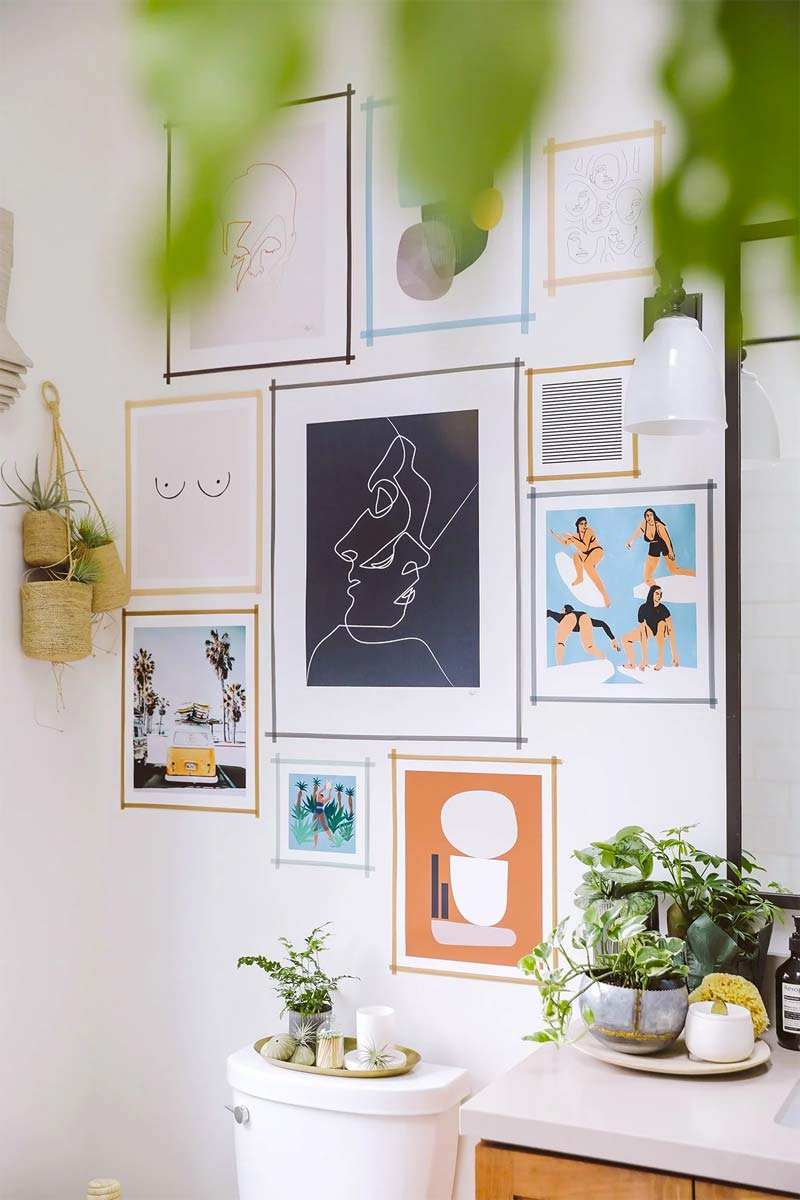 kunst ophangen zonder boren washi tape