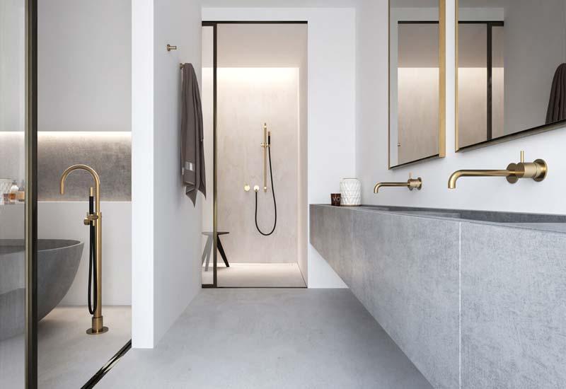 luxe badkamer gouden kraan hotbath