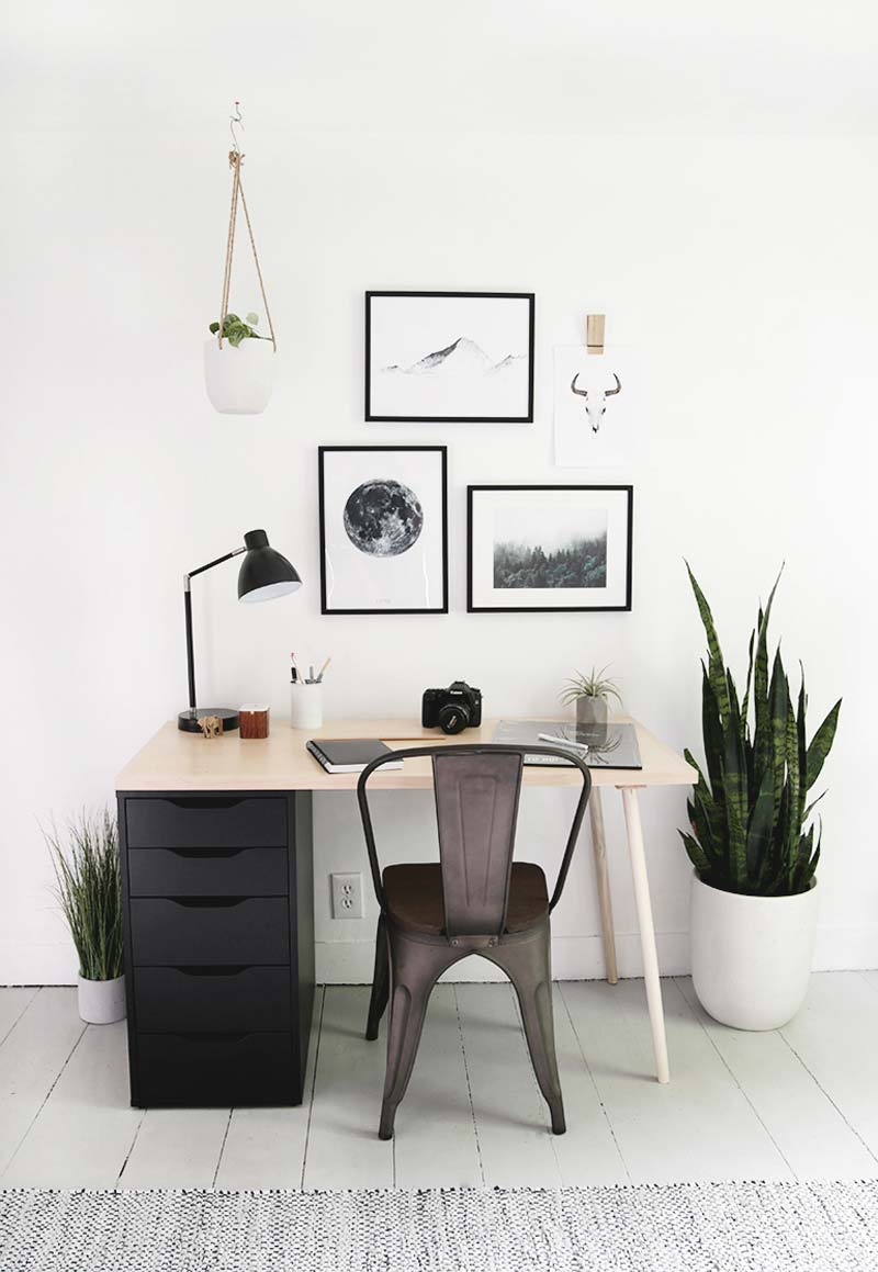 modern houten bureau met ladekast zelf maken