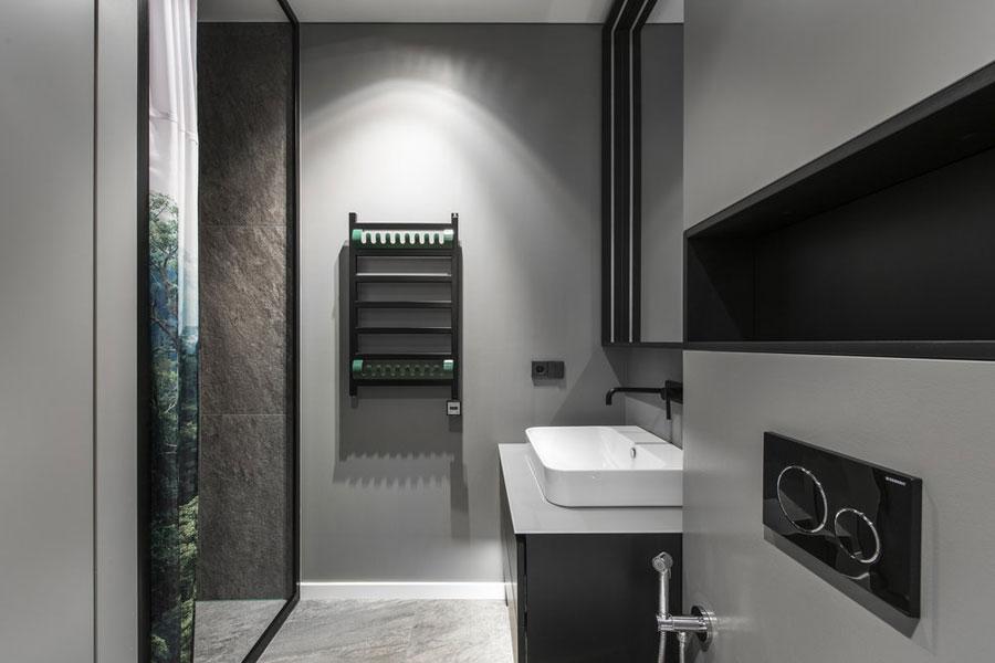 moderne badkamer zwarte inbouwkraan