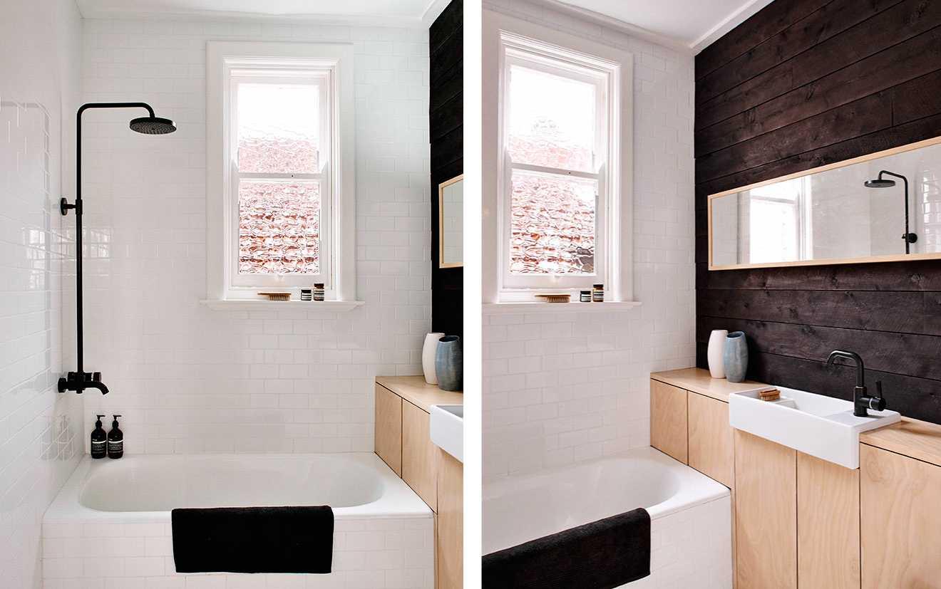 mooie badkamer multiplex kast zwarte kraan en douche