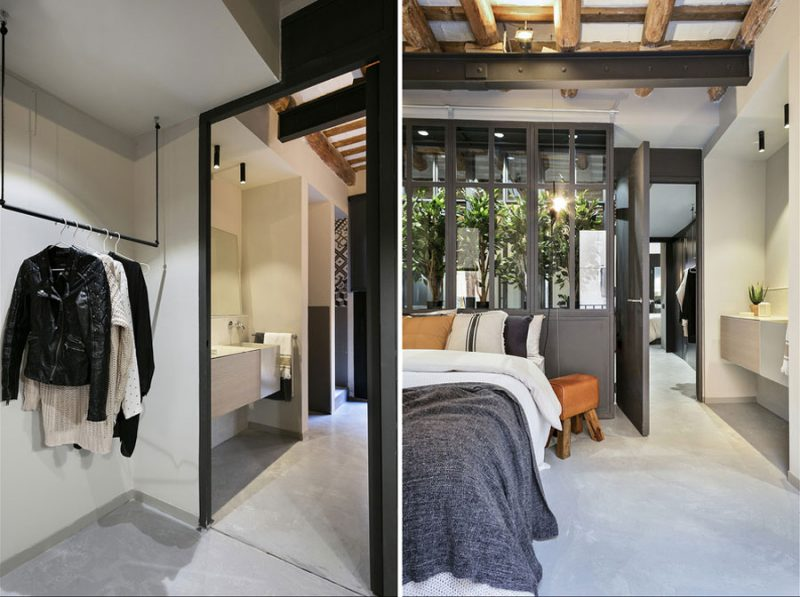 Mooie slaapkamer in de stijl van een New Yorks loft appartement
