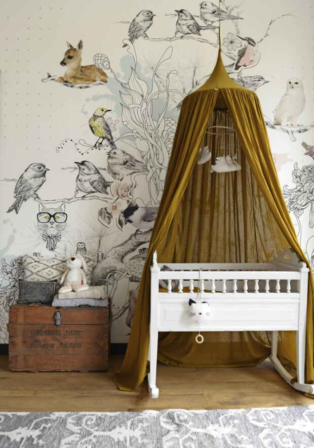 muurdecoraties babykamer behang